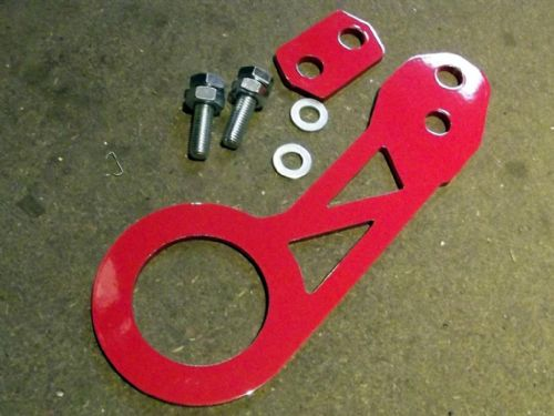 Tow hook, rear, red s/s, Universal fit, JASS Performance